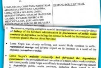 """Loma Negra acusada en NY en caso de """"Corrupción Masiva"""""""