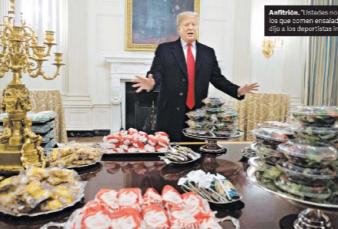 Trump festeja con pizza y hamburguesas