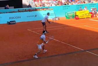 Juan Martín Del Potro volvió con una sonrisa en el dobles de Madrid y ya tiene rival en singles