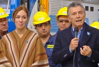 Mientras comenzaba el primer juicio a Cristina Kirchner, Macri encabezó un acto en una fábrica ferroviaria con Vidal