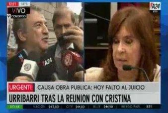 """Reunión de Sergio Urribarri con Cristina Fernández: """"No hablamos ni una palabra del cierre de listas"""""""